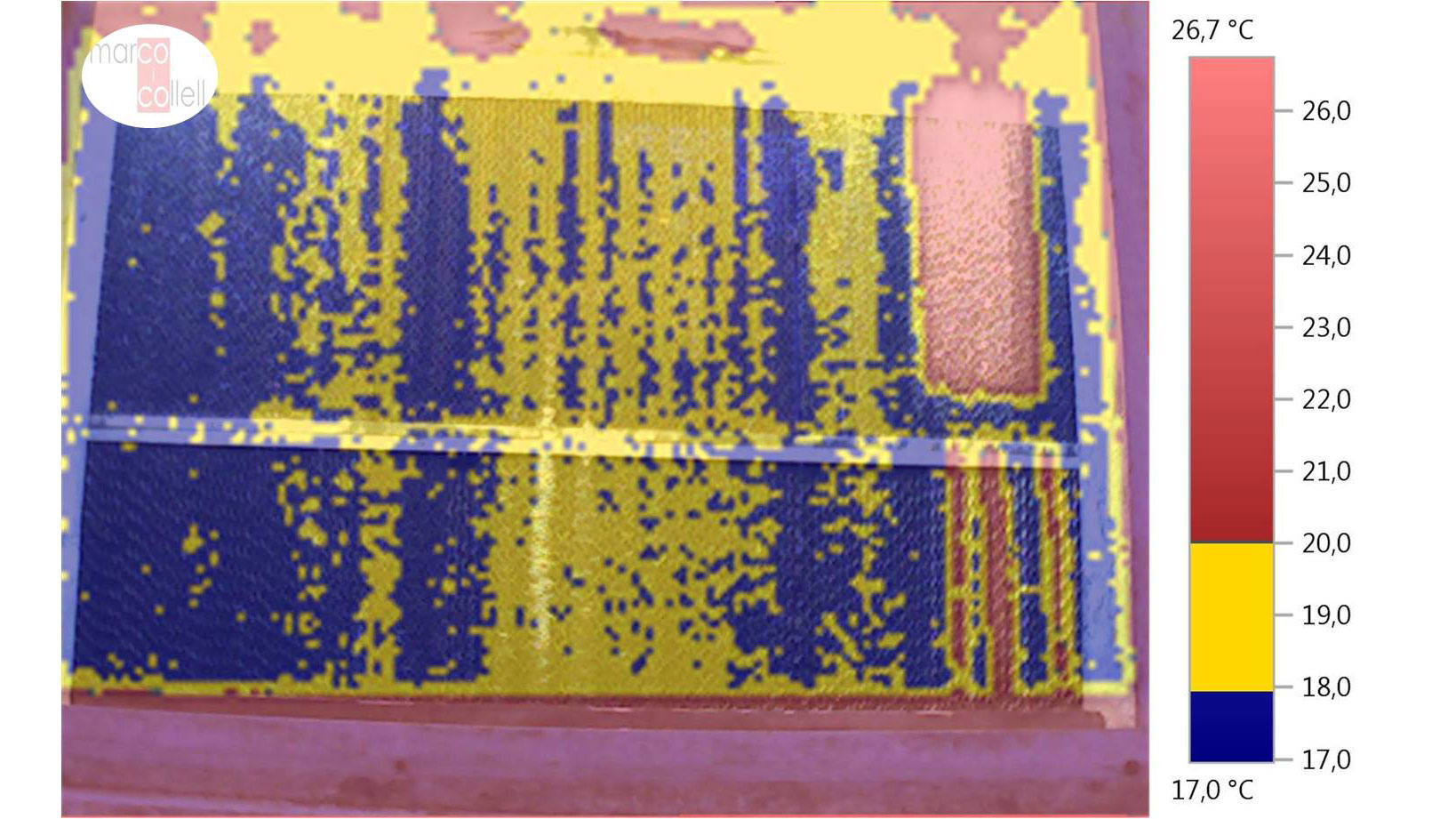 Image superposition (thermal + digital) in order to analyse the working of the cooling panel in the gestation unit (summer).